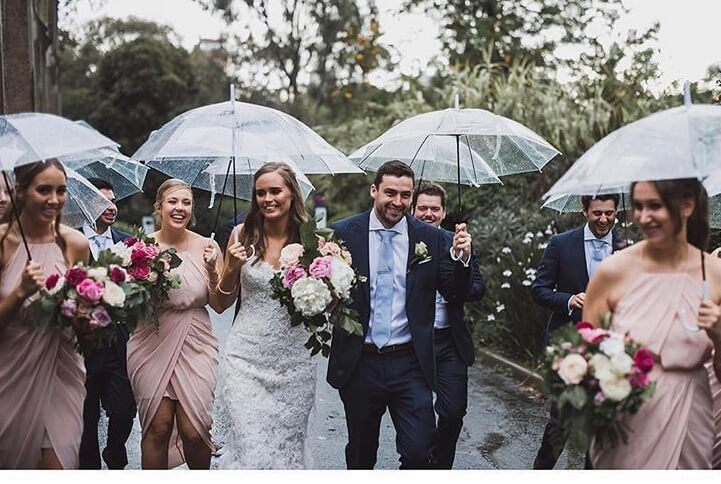 Wedding couple walking in the rain-rain-on-your-wedding-day