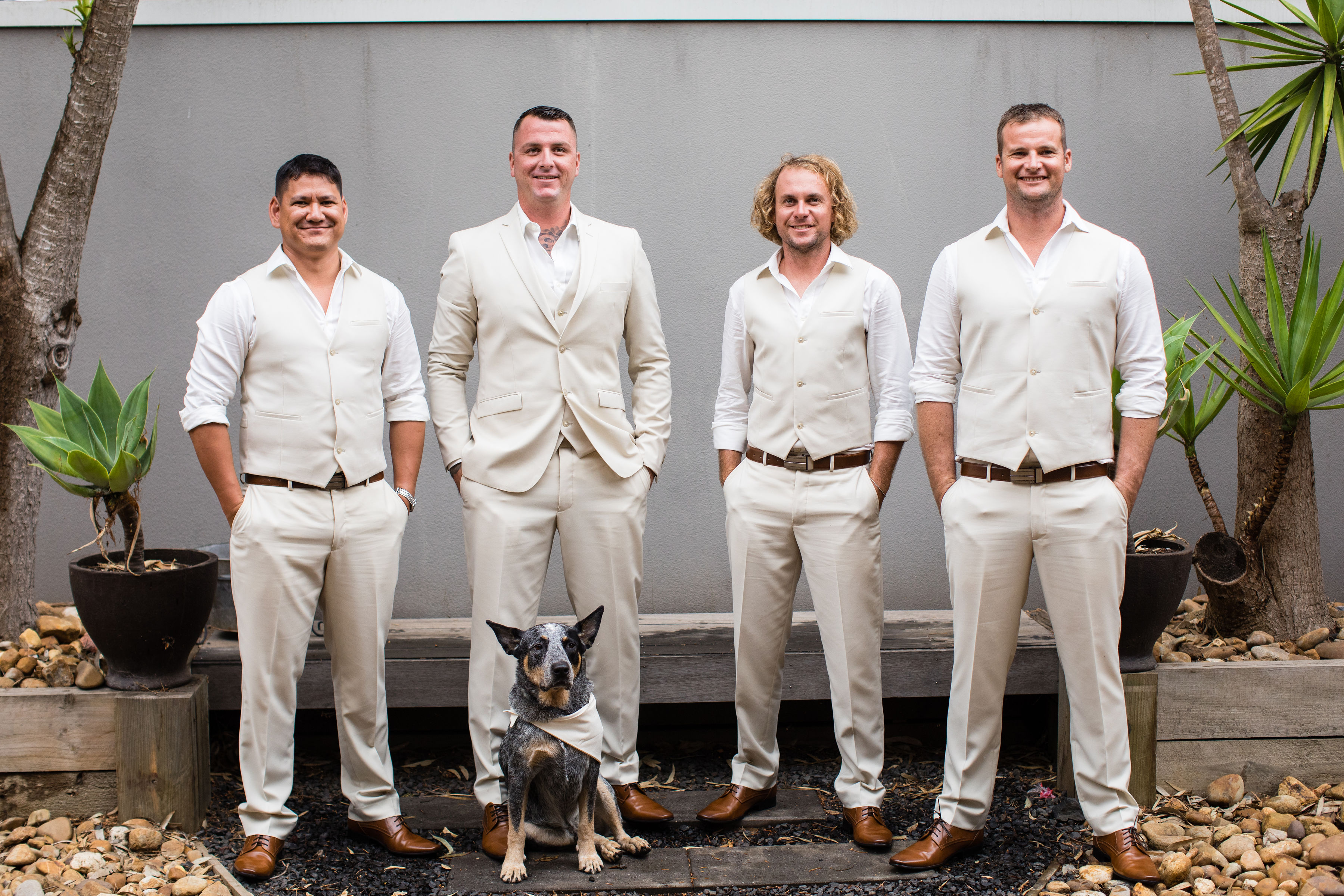 Groom and groomsmen with a dog at a wedding - thinking-of-having-your-dog-at-your-wedding